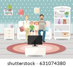 family sitting on a couch... | Shutterstock .eps vector #631074380