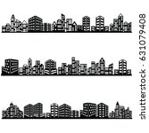 vector black city icons set | Shutterstock .eps vector #631079408