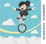 business woman riding bike one... | Shutterstock .eps vector #631086890