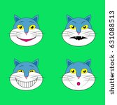 set of emotions cats smileys... | Shutterstock . vector #631088513