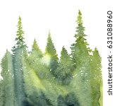 watercolor landscape with fir... | Shutterstock . vector #631088960