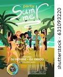 summer party. young women in... | Shutterstock .eps vector #631093220