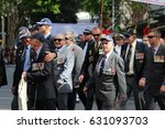 Small photo of BRISBANE, AUSTRALIA - APRIL 25, 2017: Army veterans match in the ANZAC parade.