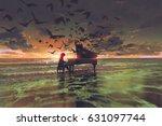 digital art of the man playing... | Shutterstock . vector #631097744