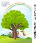 children playing around a tree... | Shutterstock .eps vector #631098818