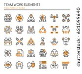 teamwork elements   thin line... | Shutterstock .eps vector #631099640