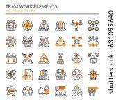 teamwork elements   thin line... | Shutterstock .eps vector #631099640