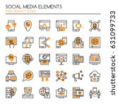 social media elements   thin... | Shutterstock .eps vector #631099733