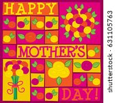 funky roses mother's day card... | Shutterstock .eps vector #631105763