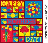 funky roses mother's day card... | Shutterstock .eps vector #631105769