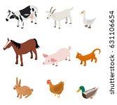 cartoon farm animal color set... | Shutterstock .eps vector #631106654
