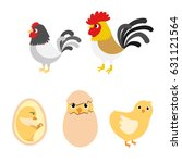 chicken egg life cycle and... | Shutterstock .eps vector #631121564