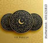 eid mubarak greeting card... | Shutterstock .eps vector #631121813