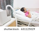 ill young asian girl sleeping... | Shutterstock . vector #631125029