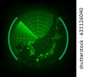 radar scan map around korea and ...   Shutterstock .eps vector #631126040