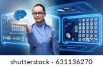 female doctor with the brain in ... | Shutterstock . vector #631136270