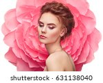 beautiful woman on the... | Shutterstock . vector #631138040