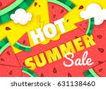 hot summer sale trendy colorful ... | Shutterstock .eps vector #631138460