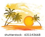 card with realistic palm trees... | Shutterstock .eps vector #631143668
