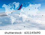 map of flight routes airplanes... | Shutterstock . vector #631145690