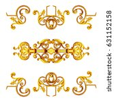 Small photo of Ornament elements, vintage gold floral designs