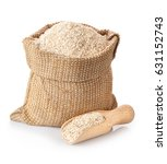 bran in sack and wooden scoop... | Shutterstock . vector #631152743