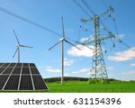 solar panel with wind turbines... | Shutterstock . vector #631154396