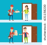 delivery to home  courier with... | Shutterstock .eps vector #631158230