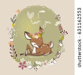 cute little deer with floral... | Shutterstock .eps vector #631162553