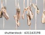 several hanging beige ballet... | Shutterstock . vector #631163198