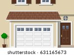 garage door house exterior... | Shutterstock .eps vector #631165673
