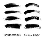set of black paint  ink brush... | Shutterstock .eps vector #631171220