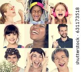 collage of people smiling... | Shutterstock . vector #631173518