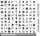 100 apple icons set in simple... | Shutterstock .eps vector #631175450