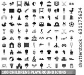 100 childrens playground icons... | Shutterstock .eps vector #631175624