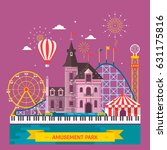 amusement park with attraction... | Shutterstock .eps vector #631175816