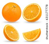 fresh orange isolated on a... | Shutterstock . vector #631177778