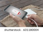 low battery concept close up... | Shutterstock . vector #631180004