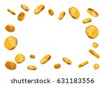 vector gold coins flying frame... | Shutterstock .eps vector #631183556