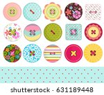 sewing buttons and polka dots... | Shutterstock .eps vector #631189448