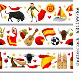 spain seamless border. spanish... | Shutterstock .eps vector #631199786