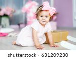 baby in a dress  in a pink... | Shutterstock . vector #631209230