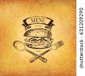 restaurant menu design. vector... | Shutterstock .eps vector #631209290