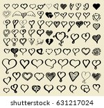 doodle sketch hearts collection.... | Shutterstock .eps vector #631217024