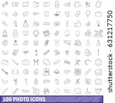 100 photo icons set in outline...   Shutterstock .eps vector #631217750