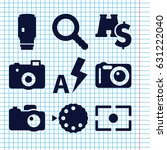 set of 9 lens filled icons such ...   Shutterstock .eps vector #631222040