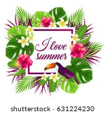 summer frame with red tropical... | Shutterstock .eps vector #631224230