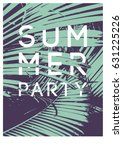 summer tropical party... | Shutterstock .eps vector #631225226