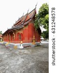 Small photo of NW.corner of Sim-Viharn-Assembly-Congregation hall. Wat Sene Souk Haram-100.000 treasures temple 1718 AD.built by Tia Tiao under King Kitsarath with 100.000 stones from the Mekong. Luang Prabang-Laos.