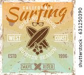 surfing school colored vintage... | Shutterstock .eps vector #631250390